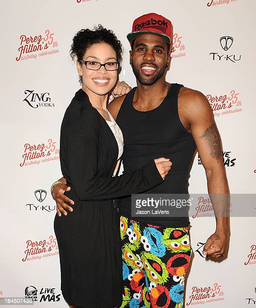 Jordin Sparks and Jason Derulo attend Perez Hilton's 35th birthday party at El Rey Theatre on March 23 2013 in Los Angeles California