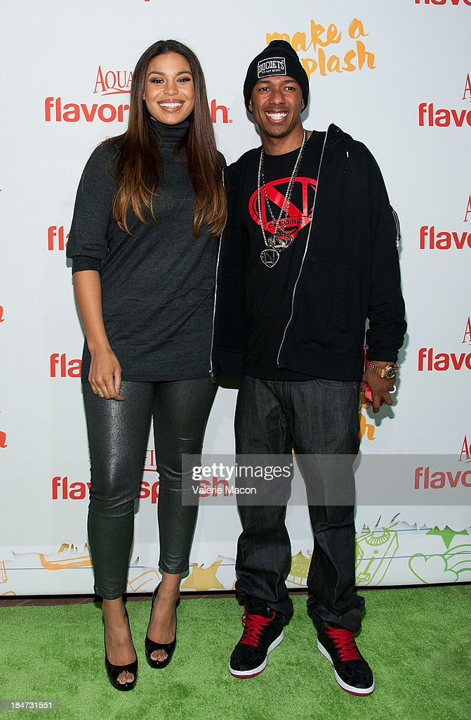 Jordin Sparks and Nick Cannon arrives at Aquafina FlavorSplash Launch Party With Austin Mahone & Nick Cannon at Sony Pictures Studios on October 15, 2013 in Culver City, California.