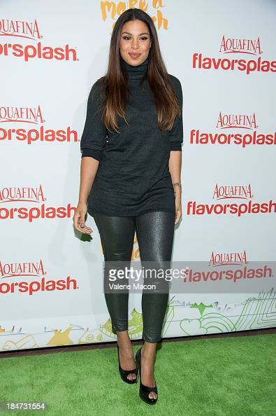Jordin Sparks arrives at Aquafina FlavorSplash Launch Party With Austin Mahone Nick Cannon at Sony Pictures Studios on October 15 2013 in Culver City...