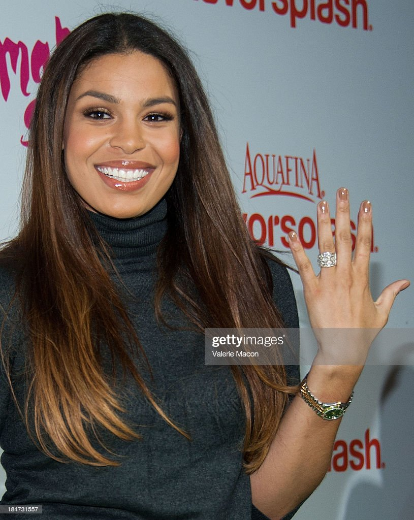 Jordin Sparks arrives at Aquafina FlavorSplash Launch Party With Austin Mahone & Nick Cannon at Sony Pictures Studios on October 15, 2013 in Culver City, California.