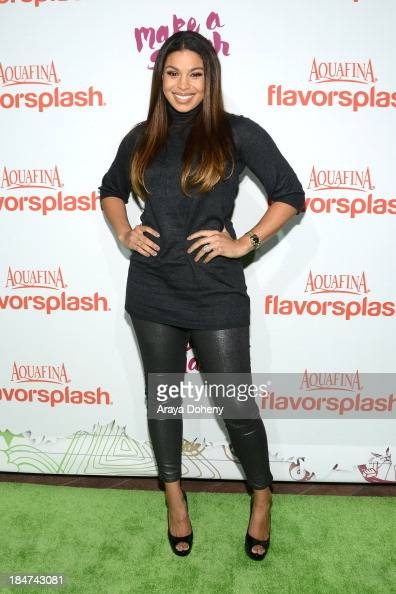 Jordin Sparks attends the Aquafina FlavorSplash Launch Party With Austin Mahone Nick Cannon at Sony Pictures Studios on October 15 2013 in Culver...