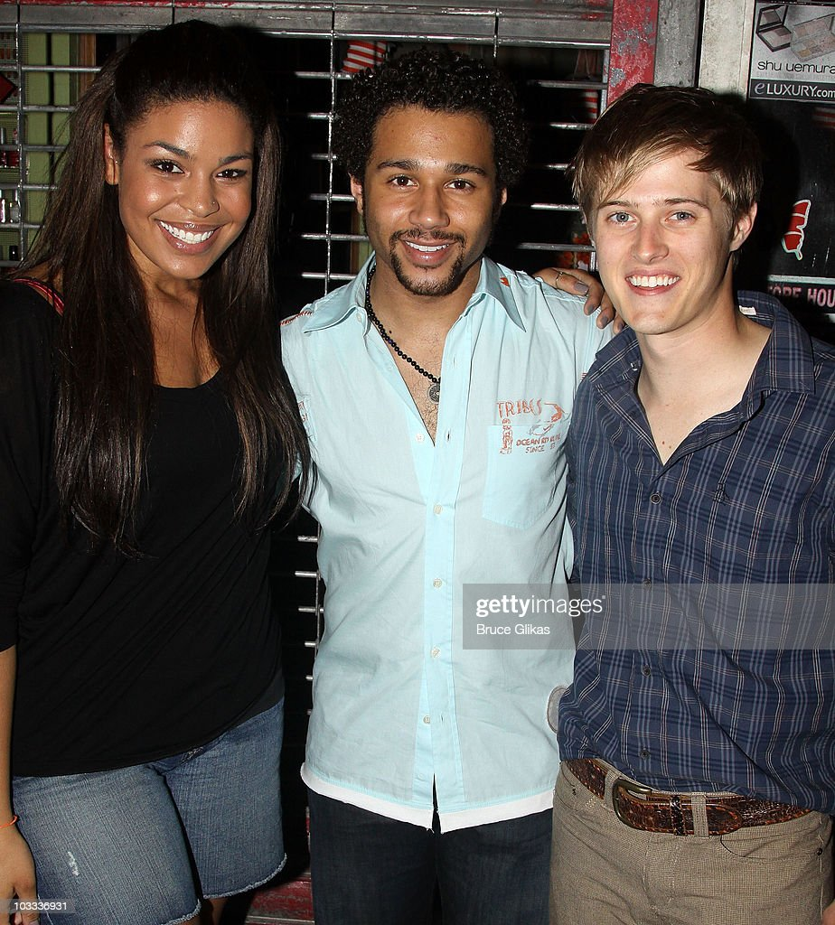 Jordin Sparks Corbin Bleu and Lucas Grabeel pose backstage at 'In The Heights' on Broadway at the Richard Rodgers Theatre on August 10 2010 in New...