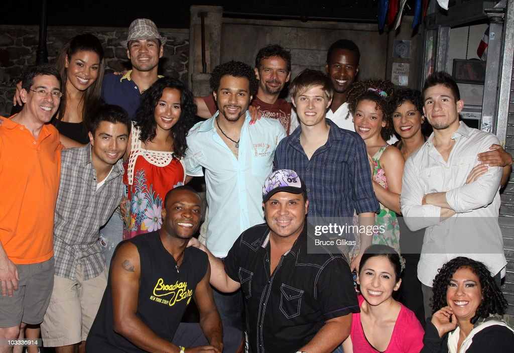 Jordin Sparks Corbin Bleu and Lucas Grabeel pose with the cast backstage at 'In The Heights' on Broadway at the Richard Rodgers Theatre on August 10...