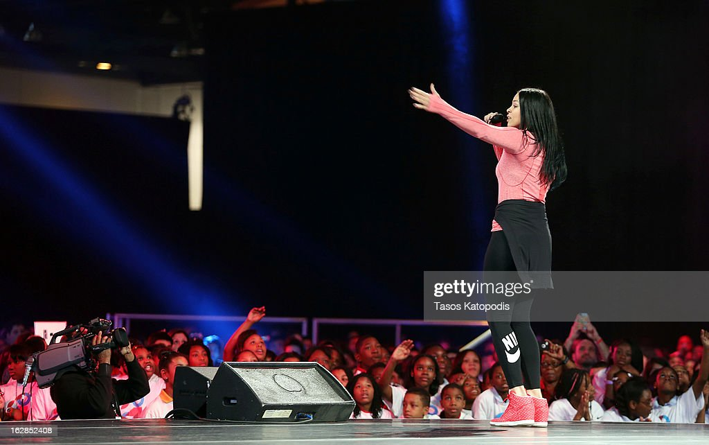 <a gi-track='captionPersonalityLinkClicked' href=/galleries/search?phrase=Jordin+Sparks&family=editorial&specificpeople=4165535 ng-click='$event.stopPropagation()'>Jordin Sparks</a> performs during an event with first lady Michelle Obama debuting a school exercise program February 28, 2013 in Chicago, Illinois. Obama unveiled a new initiative called 'Let's Move Active Schools' to help schools create a physical activity programs for students.