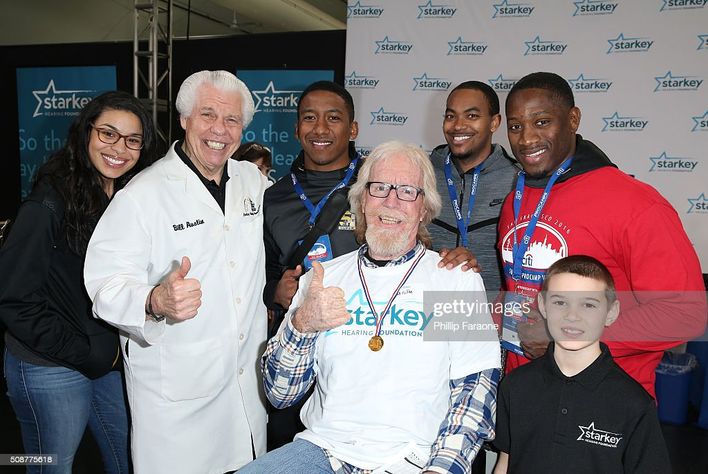 Jordin Sparks, Dr. Bill Austin, Charles Wilson, patient Mike Collins, Dwayne Irvin, Pierre Singfield and guest attend the Starkey Hearing Foundation hearing mission during Super Bowl weekend 2016 at San Francisco State University on February 6, 2016 in San Francisco, California.