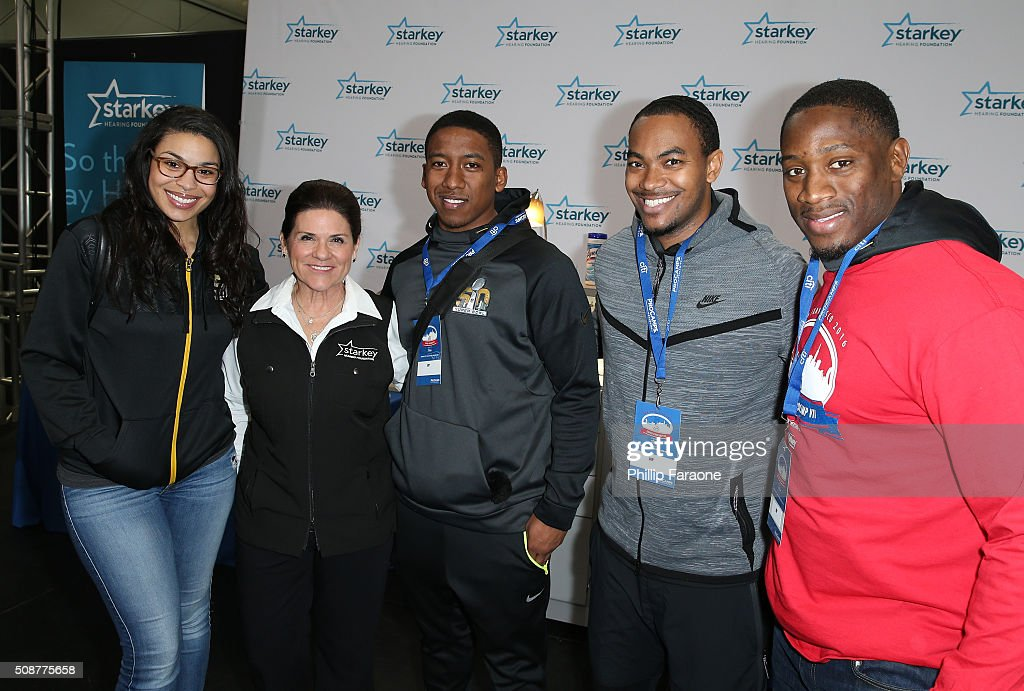 <a gi-track='captionPersonalityLinkClicked' href=/galleries/search?phrase=Jordin+Sparks&family=editorial&specificpeople=4165535 ng-click='$event.stopPropagation()'>Jordin Sparks</a>, Tani Austin, Charles Wilson, Dwayne Irvin and Pierre Singfield attend the Starkey Hearing Foundation hearing mission during Super Bowl weekend 2016 at San Francisco State University on February 6, 2016 in San Francisco, California.