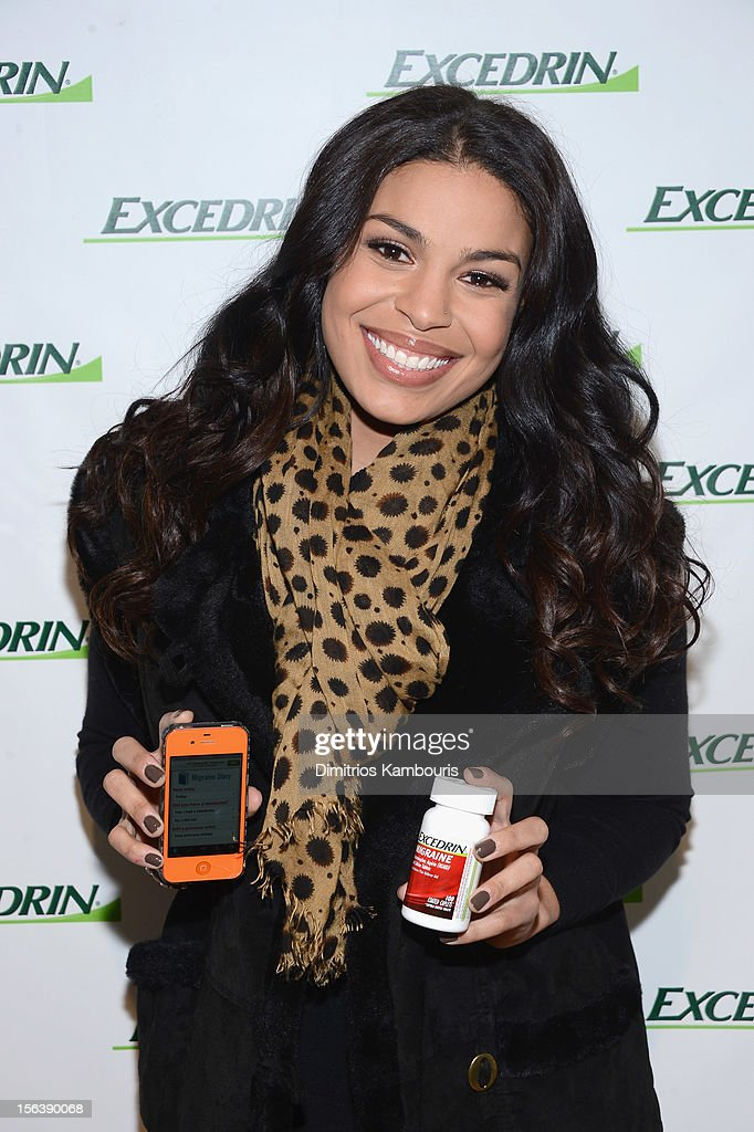 <a gi-track='captionPersonalityLinkClicked' href=/galleries/search?phrase=Jordin+Sparks&family=editorial&specificpeople=4165535 ng-click='$event.stopPropagation()'>Jordin Sparks</a> teams up with Excedrin Migraine to launch 'Managing Migraines: Know Your Triggers. Know Your Treatment.' campaign about the importance of tracking migraine triggers at Herald Square on November 14, 2012 in New York City.