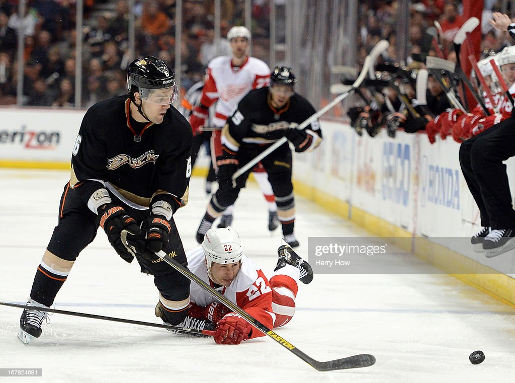 Jordin Tootoo #22 of the Detroit Red Wings dives for the puck in front of Ben Lovejoy #6 of the Anaheim Ducks during the second period in Game One of the Western Conference Quarterfinals during the 2013 Stanley Cup Playoffs at Honda Center on April 30, 2013 in Anaheim, California.