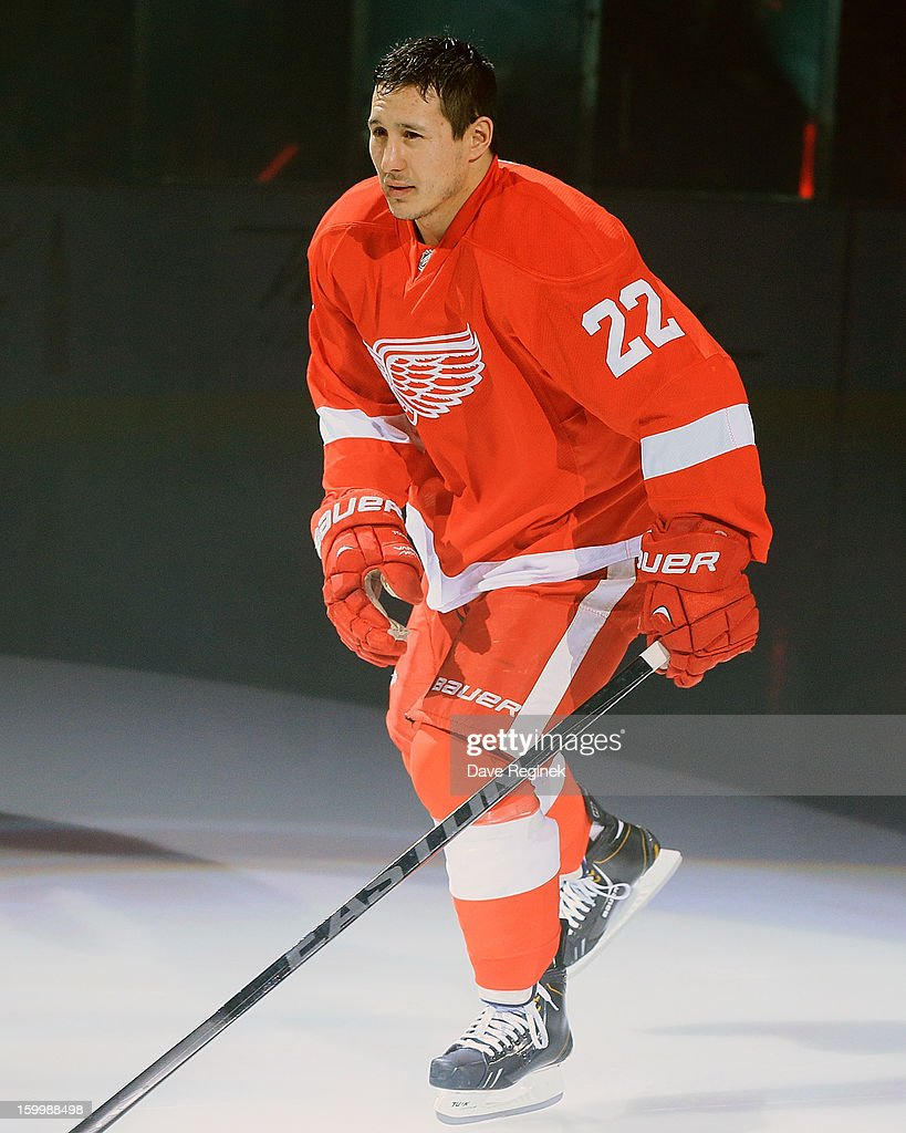 Jordin Tootoo #22 of the Detroit Red Wings is introduced in pre-game ceramonies before an NHL game against the Dallas Stars at Joe Louis Arena on January 22, 2013 in Detroit, Michigan. Dallas won 2-1