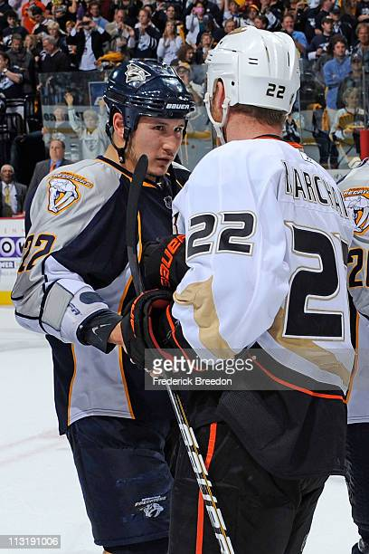 Jordin Tootoo of the Nashville Predators shakes hands with Todd Marchant of the Anaheim Ducks after Game Six of the Western Conference Quarterfinals...