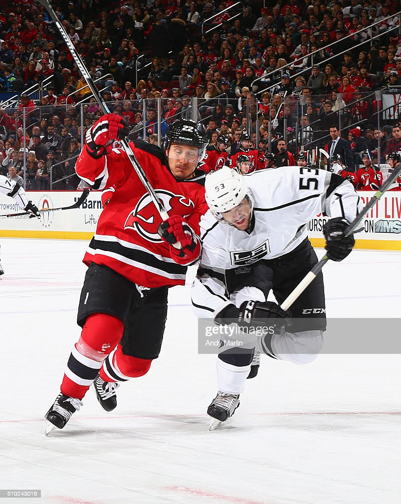 <a gi-track='captionPersonalityLinkClicked' href=/galleries/search?phrase=Jordin+Tootoo&family=editorial&specificpeople=203013 ng-click='$event.stopPropagation()'>Jordin Tootoo</a> #22 of the New Jersey Devils and Kevin Gravel #53 of the Los Angeles Kings battle for position during the game at the Prudential Center on February 14, 2016 in Newark, New Jersey.