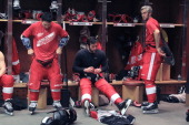 Jordin Tootoo Todd Bertuzzi and Drew Miller of the Detroit Red Wings get ready before an NHL game against the Dallas Stars at Joe Louis Arena on...