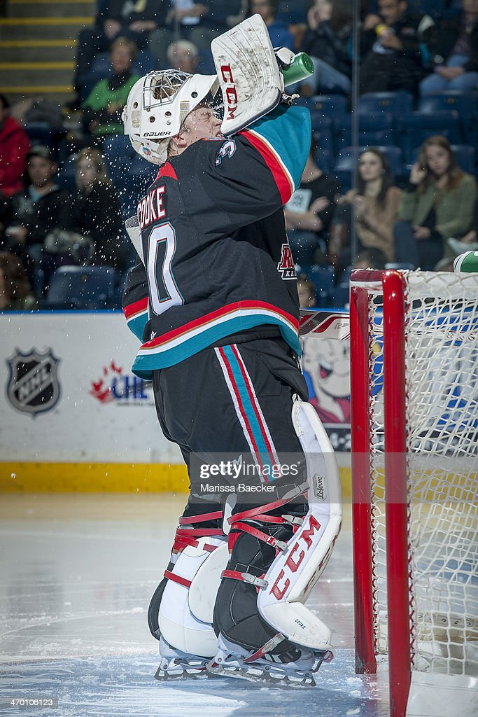 Jordon Cooke #30 of the Kelowna Rockets cools down in net against the Prince George Cougars on October 19, 2013 at Prospera Place in Kelowna, British Columbia, Canada.
