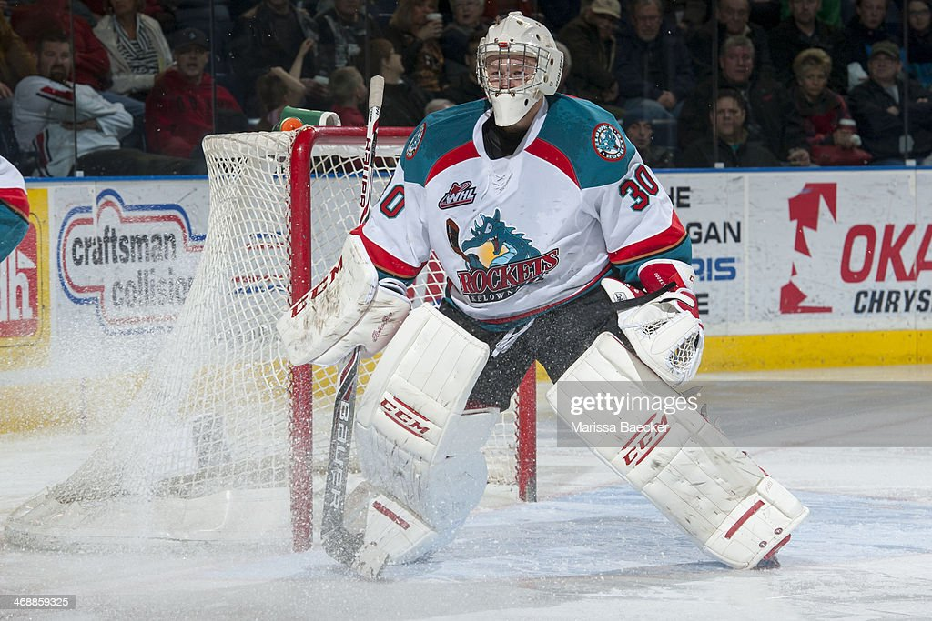 Jordon Cooke of the Kelowna Rockets defends the net against the Victoria Royals on February 8 2014 at Prospera Place in Kelowna British Columbia...