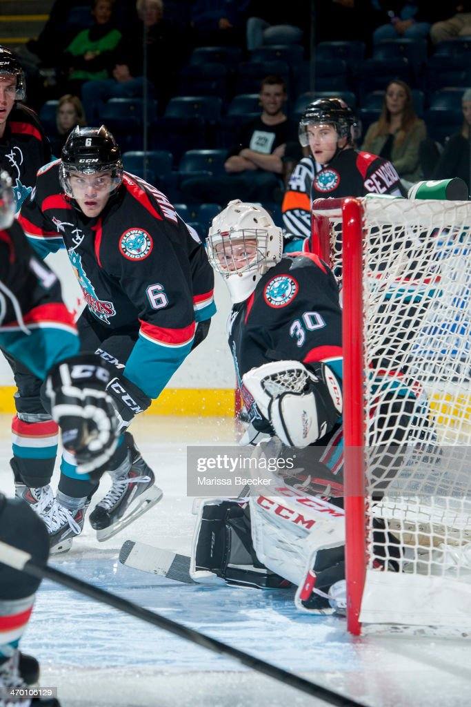 Jordon Cooke #30 of the Kelowna Rockets defends the net against the Prince George Cougars on October 19, 2013 at Prospera Place in Kelowna, British Columbia, Canada.