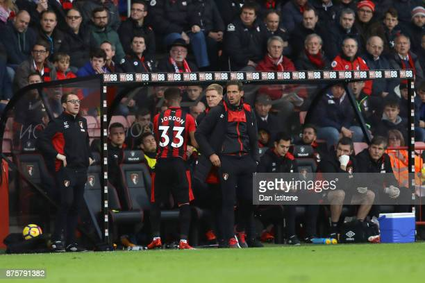 Jordon Ibe of AFC Bournemouth and manager Eddie Howe shake hands after substituted during the Premier League match between AFC Bournemouth and...