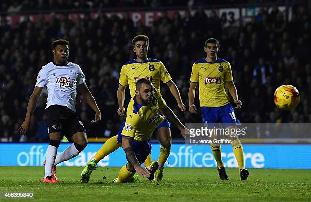 Jordon Ibe of Derby County scores the first goal during the Sky Bet Championship match between Derby County and Huddersfield Town at iPro Stadium on...