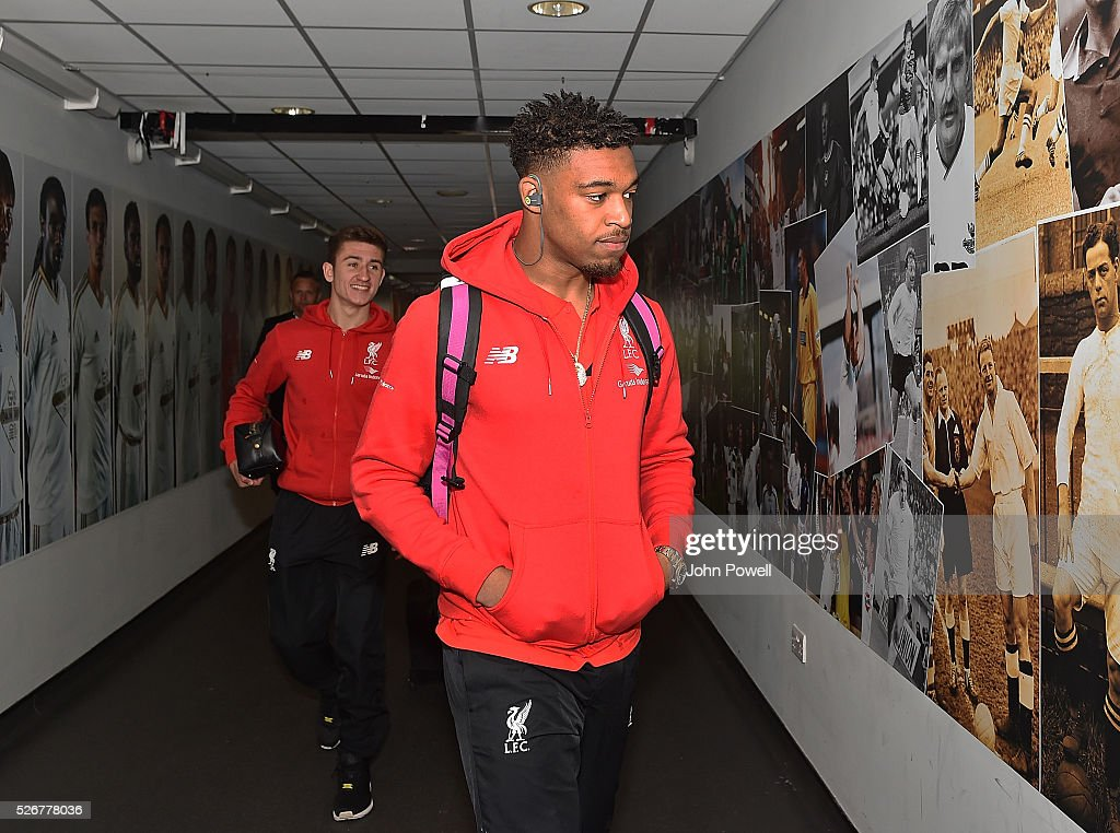 Jordon Ibe of Liverpool arrives before a Premier League match between Swansea City and Liverpool at the Liberty Stadium on May 01, 2016 in Swansea, Wales.