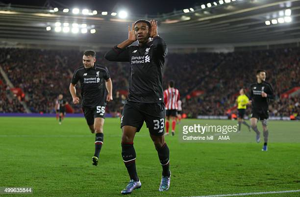 Jordon Ibe of Liverpool celebrates after he scores a goal to make it 15 during the Capital One Cup Quarter Final between Southampton and Liverpool at...
