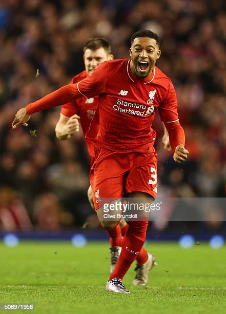 Jordon Ibe of Liverpool celebrates as Joe Allen of Liverpool scores the decisive penalty in the shoot out during the Capital One Cup semi final...