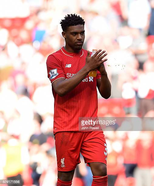 Jordon Ibe of Liverpool celebrates at the end of the Barclays Premier League match between Liverpool and Watford at Anfield on May 08 2016 in...