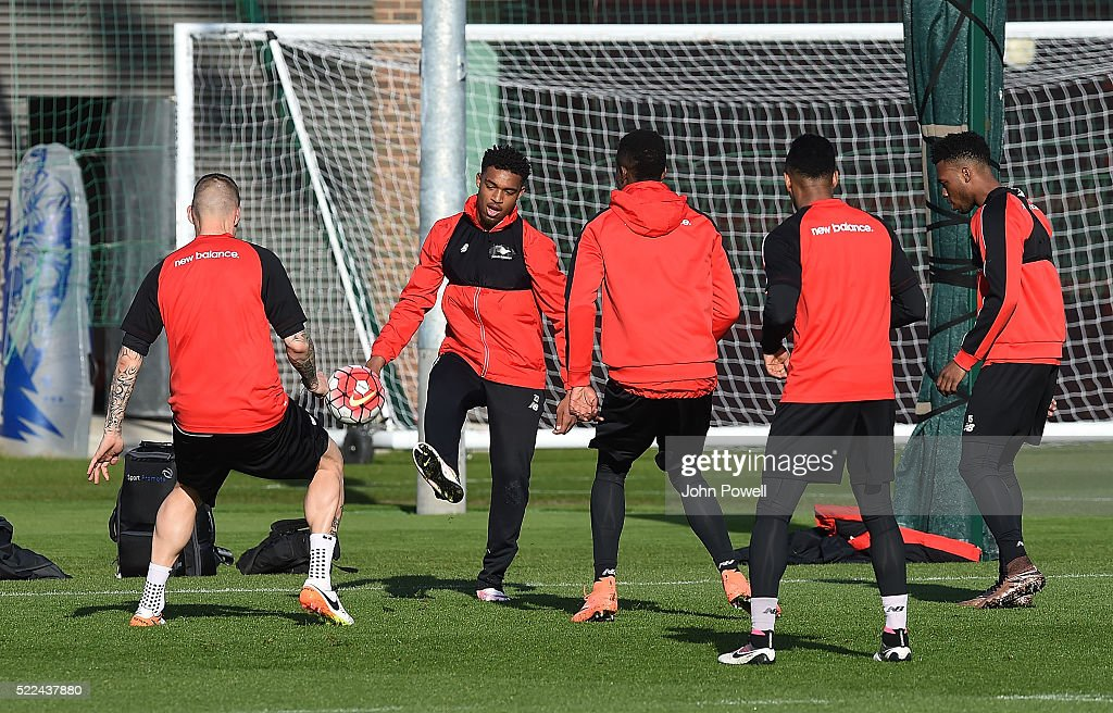 Jordon Ibe of Liverpool during a training session at Melwood Training Ground on April 19, 2016 in Liverpool, England.