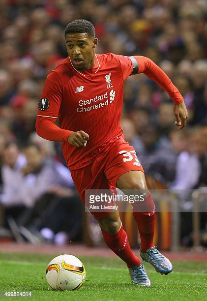 Jordon Ibe of Liverpool during the UEFA Europa League match between Liverpool FC and FC Girondins de Bordeaux at Anfield on November 26 2015 in...