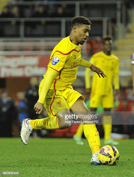 Jordon Ibe of Liverpool in action during the Barclays U21 Premier League match between Manchester United and Liverpool at Leigh Sports Village on...
