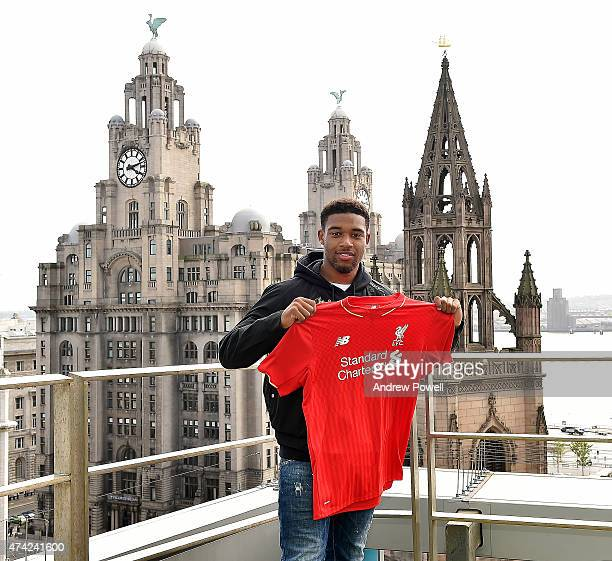 Jordon Ibe of Liverpool poses for a photograph after signing a new contract extension at Chapel Street Ground on May 21 2015 in Liverpool England