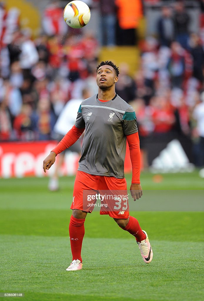 Jordon Ibe of Liverpool warms up before the UEFA Europa League Semi Final: Second Leg match between Liverpool and Villarreal CF at Anfield on May 05, 2016 in Liverpool, England.