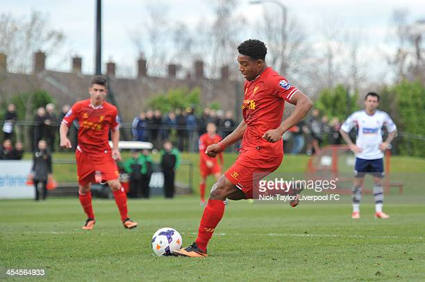 Jordon Ibe scores from the penalty spot during the Barclays Premier League Under 21 fixture between Liverpool and Bolton Wanderers at the Liverpool...
