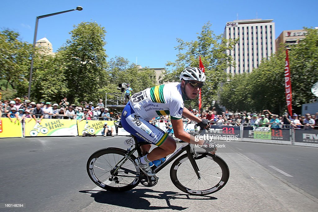 Jordon Kerby of Australia and the UniSA Australia team leads the peloton during stage six of the Tour Down Under on January 27, 2013 in Adelaide, Australia.