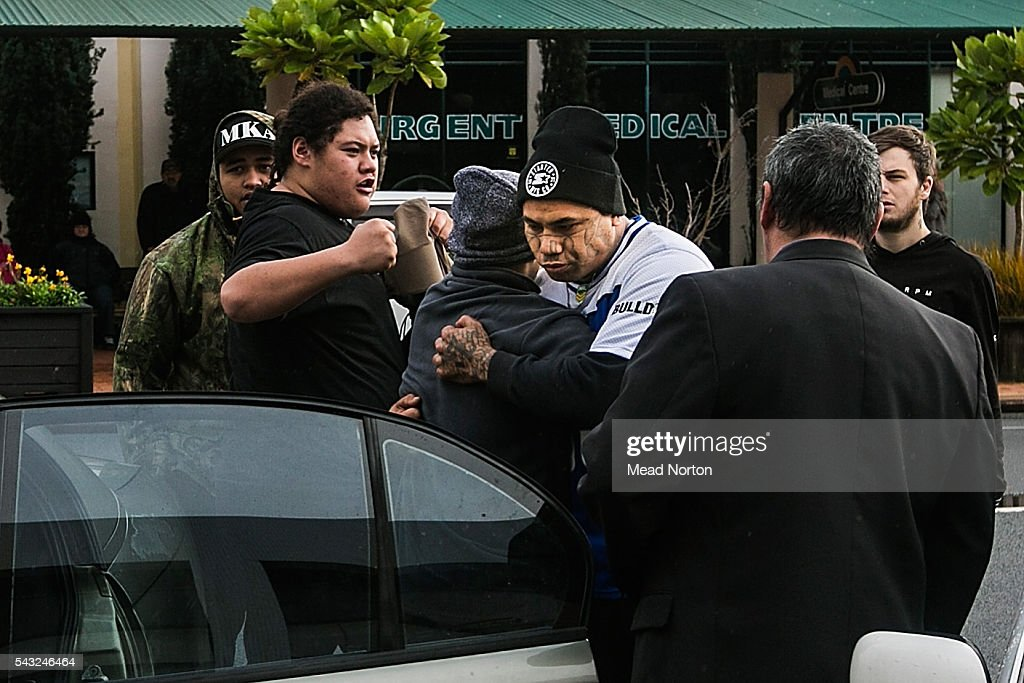 Jordon Tawa Rangitoheriri, baby Moko's father being consoled after hearing the verdict given to the killers of his son on June 27, 2016 in Rotorua, New Zealand. Three year old toddler Moko Rangitoheriri died on August 10, 2015 from injuries he received during prolonged abuse and torture at the hands of his carers. His killers Tania Shailer and David Haerewa were sentenced at Rotorua High Court today.