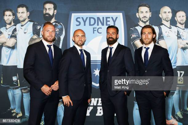 Jordy Buijs Adrian Mierzejewski Alex Brosque and Joshua Brillante pose during the Sydney FC 2017/18 ALeague Season Launch at the Westin on October 4...