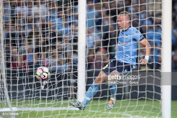 Jordy Buijs celebrates after scoring a goal during the ALeague Semi Final match between Sydney FC and the Perth Glory at Allianz Stadium on April 29...