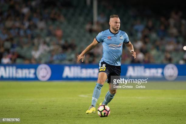 Jordy Buijs crosses the ball during the ALeague match between Sydney FC and the Newcastle Jets at Allianz Stadium on April 15 2017 in Sydney Australia