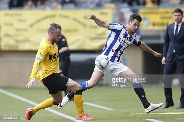 Jordy Buijs of Roda JC Mitchell te Vrede of SC Heerenveen during the Dutch Eredivisie match between Roda JC Kerkrade and SC Heerenveen at the...