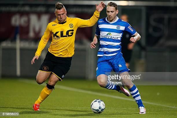Jordy Buijs of Roda JC Stef Nijland of PEC Zwolle during the Dutch Eredivisie match between PEC Zwolle and Roda JC Kerkrade at the IJsseldelta...