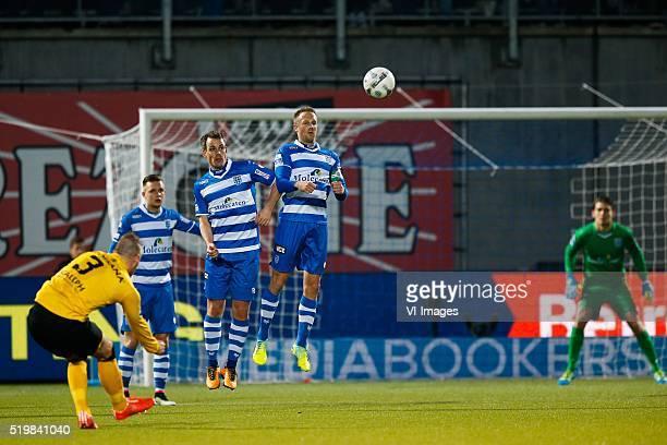 Jordy Buijs of Roda JC Wouter Marinus of PEC Zwolle Wout Brama of PEC Zwolle Bart van Hintum of PEC Zwolle goalkeeper Mickey van der Hart of PEC...