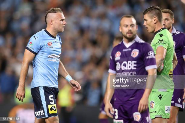Jordy Buijs of Sydney FC and Liam Reddy of the Glory exchange heated words during the ALeague Semi Final match between Sydney FC and the Perth Glory...