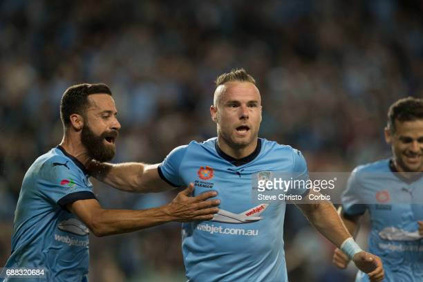 Jordy Buijs of Sydney FC celebrates a goal during the 2017 ALeague Grand Final match between Sydney FC and the Melbourne Victory at Allianz Stadium...
