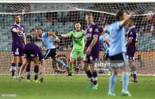 Jordy Buijs of Sydney FC celebrates after scoring his teams second goal during the ALeague Semi Final match between Sydney FC and the Perth Glory at...