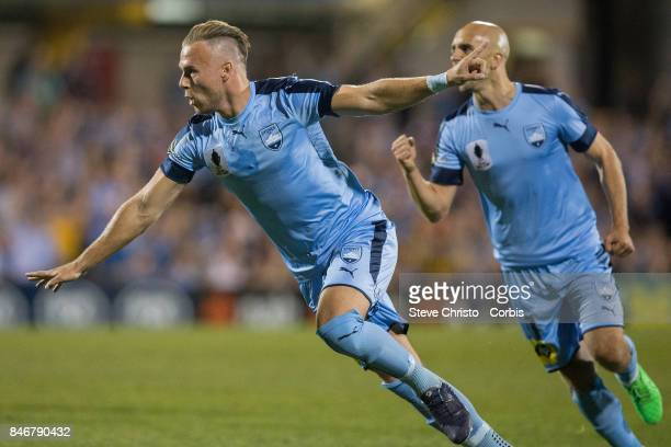 Jordy Buijs of Sydney FC celebrates kicking a goal during the FFA Cup Quarter Final match between Sydney FC and Melbourne City at Leichhardt Oval on...