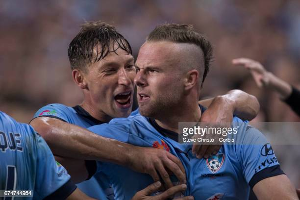 Jordy Buijs of Sydney FC celebrates scoring a goal during the ALeague Semi Final match between Sydney FC and the Perth Glory at Allianz Stadium on...