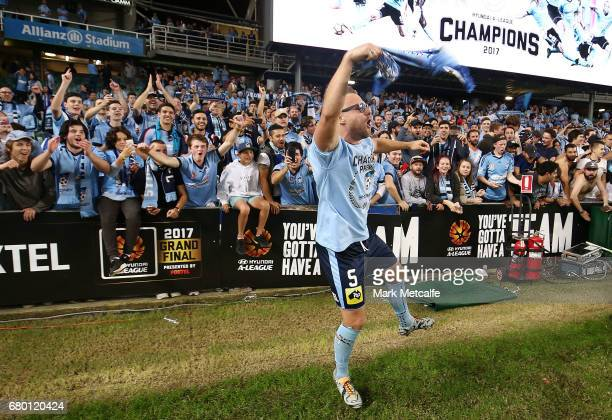Jordy Buijs of Sydney FC celebrates winning the 2017 ALeague Grand Final match between Sydney FC and the Melbourne Victory at Allianz Stadium on May...