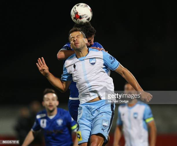 Jordy Buijs of Sydney FC heads the ball during the FFA Cup Semi Final match between South Melbourne FC and Sydney FC at Lakeside Stadium on October...