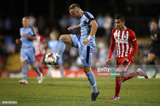 Jordy Buijs of Sydney FC kicks during the FFA Cup Quarter Final match between Sydney FC and Melbourne City at Leichhardt Oval on September 13 2017 in...