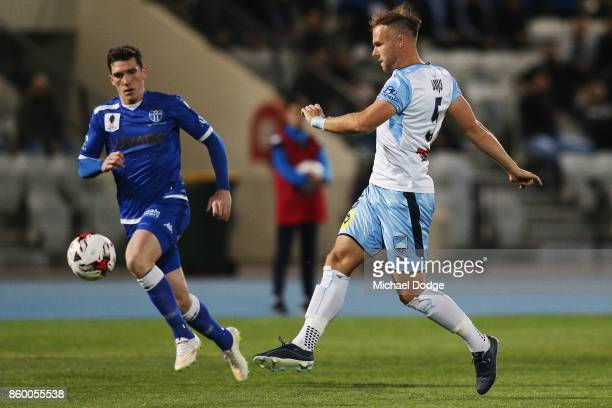 Jordy Buijs of Sydney FC kicks the ball during the FFA Cup Semi Final match between South Melbourne FC and Sydney FC at Lakeside Stadium on October...