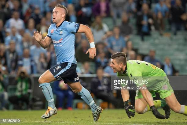 Jordy Buijs of Sydney FC scores a goal during the ALeague Semi Final match between Sydney FC and the Perth Glory at Allianz Stadium on April 29 2017...