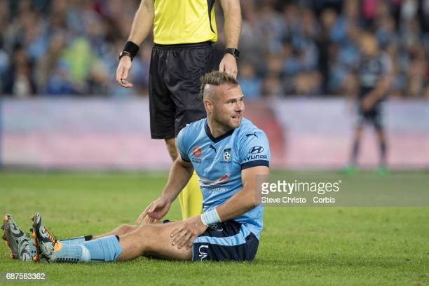 Jordy Buijs of Sydney FC sits and waits for medical attention in extra time during the 2017 ALeague Grand Final match between Sydney FC and the...